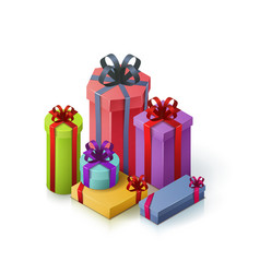 Set of gift boxes with bows and ribbons isometric vector