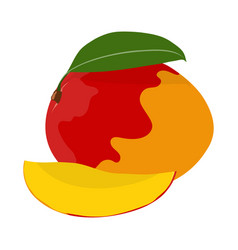 set with whole mango and piece vector image