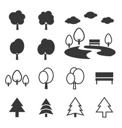 silhouette park icon set vector image