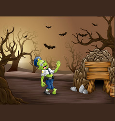 Spooky zombies walk in the dead forest vector
