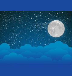 starry sky with blue clouds moon shining stars vector image