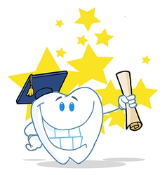 Successful Graduate Tooth Holding A Diploma vector