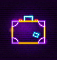 suitcase neon label vector image