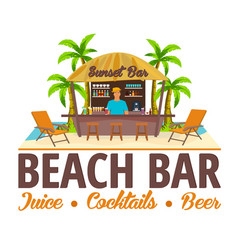 Summer beach bar travel juice cocktails beer vector