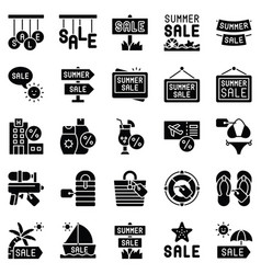 summer sale element icon set solid style vector image