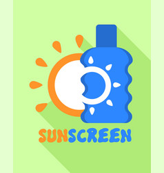 Sunscreen bottle logo flat style vector