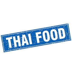 Thai food blue square grunge stamp on white vector