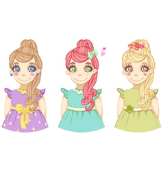 three cute cartoon colored girls vector image