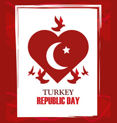 Turkey republic day red heart shaped flag vector