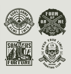 vintage military monochrome prints vector image