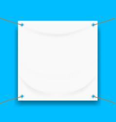 Vinyl banner blank white isolated on square blue vector