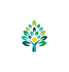 wellness people tree logo icon symbol concept vector image
