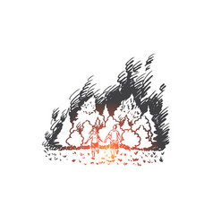 Wildfire danger flame forest disaster concept vector