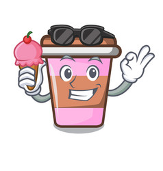 With ice cream coffee cup character cartoon vector