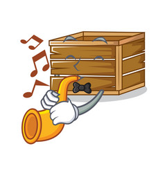With trumpet crate mascot cartoon style vector