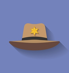 Icon of Sheriff hat Cowboy hat Flat style vector image vector image