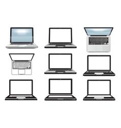 Laptop computer Set of icons symbols vector image