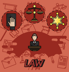 Law flat concept icons vector