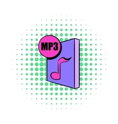 MP3 file icon in comics style vector image