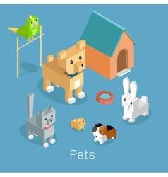 Pets Set Icon Isometric 3d Design vector image