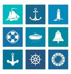 Set of Blue Marine Icons vector image