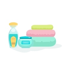 Three Folded Towels And Skin Products Element Of vector image