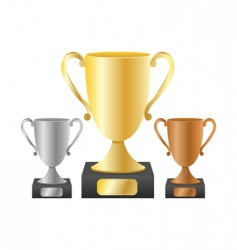trophy cups vector image vector image