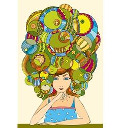girl hair face vector image