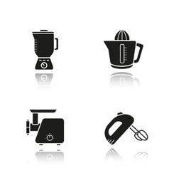 Kitchen tools drop shadow black icons set vector image vector image