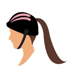 Profile head woman with sport helmet vector