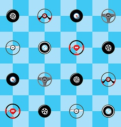 Automotive childish wallpaper with steering wheels vector image