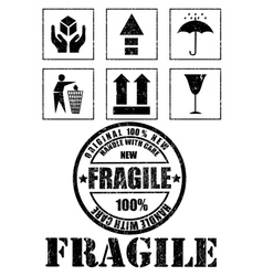 Safety fragile signs and stamp vector