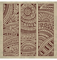 Abstract vintage ethnic pattern card set vector image vector image