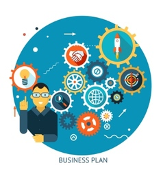 Businessman describes successful strategy plan vector