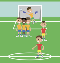 children play football vector image
