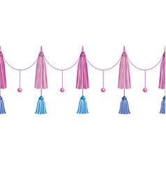 Fun pink decorative long tassels set vector