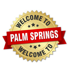 palm springs 3d gold badge with red ribbon vector image vector image