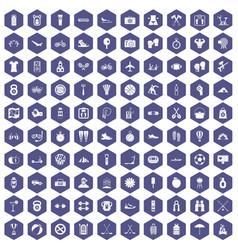 100 active life icons hexagon purple vector