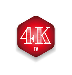 4k television resolution sign red hexagon vector image