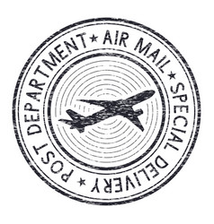 Air mail postmark black stamp for envelopes vector