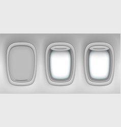 Airplane realistic open closed window portholes vector