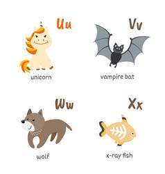 Animal alphabet with unicorn vampire-bat wolf vector