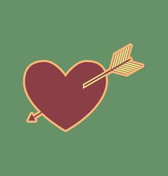 Arrow heart sign cordovan icon and mellow vector