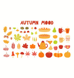 Autumn elements clipart collection leaves food vector
