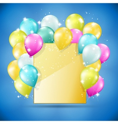 Balloons card on blue vector