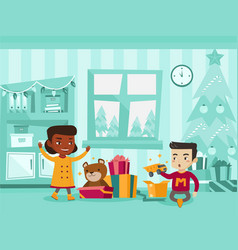 Biracial kids opening christmas presents vector