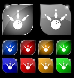 bowling icon sign Set of ten colorful buttons with vector image