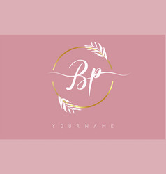 Bp b p letters logo design with golden circle vector