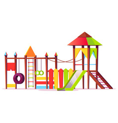 Bright playground for children game area vector