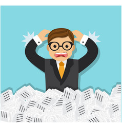 businessman tired and a bunch paper documents vector image